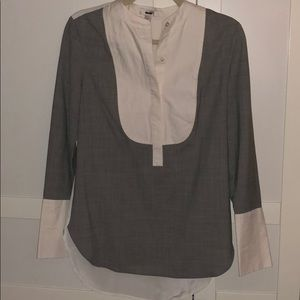 J Crew Long Sleeve Gray and White Blouse